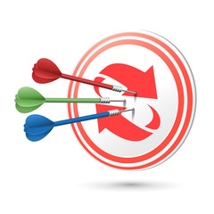 refresh concept target with darts hitting on it