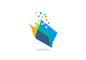 book paper technology vector logo