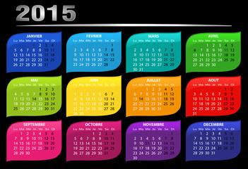 calendrier 2015 multicolore horizontal fond noir