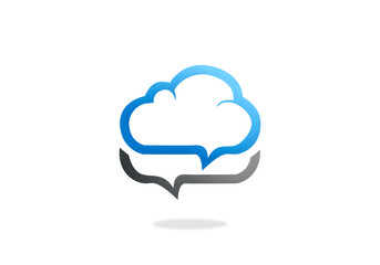 cloud talk icon vector logo