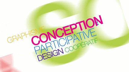 Conception participative co-design nuage de mots couleurs