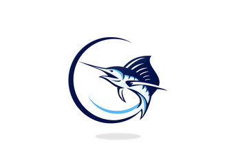 marlin fishing vector logo
