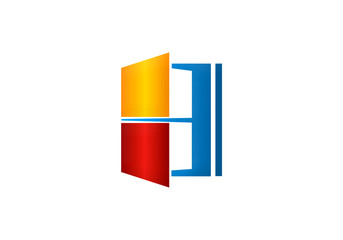 window house color vector logo