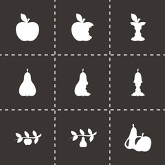 Vector black apple and pear icons set