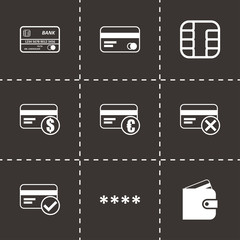 Vector black credit card eyes icons set