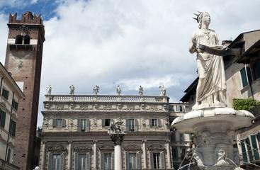 Verona, Italy, statue of Madonna in piazza erba