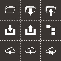 Vector black ftp icons set