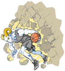 Bighorn Sheep Ram Basketball Mascot Crashing Through Wall