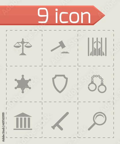Vector black justice icons set - 69765999