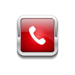 Call Rounded Rectangular Vector Red Web Icon Button