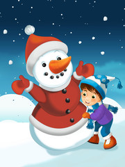Christmas scene with snowman - illustration for the children
