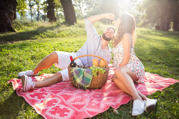 Couple in love on picnic