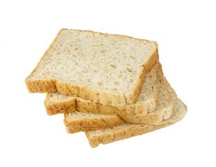 Whole wheat grain bread on white background