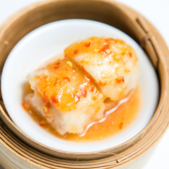 Steamed crystal chives dumplings : dim sum