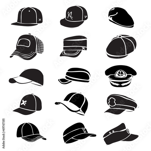 cap set isolated on white hat icon vector baseball rap - 69767581