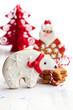 Gingerbread polar bear and Santa Claus