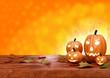 Halloween pumpkin lanterns on orange background - 69767736