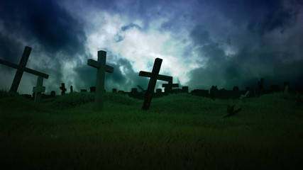 Field full of crosses.