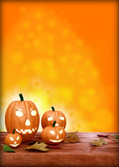 Halloween flyer design template, with pumpkin