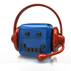 Blue cube with headset