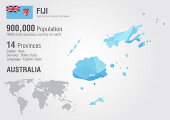 Fiji world map with a pixel diamond texture.