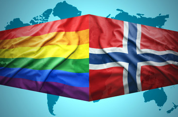 Waving Norwegian and Gay flags