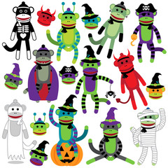 Vector Collection of Adorable Halloween Themed Sock Monkeys