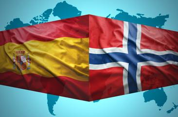 Waving Norwegian and Spanish flags