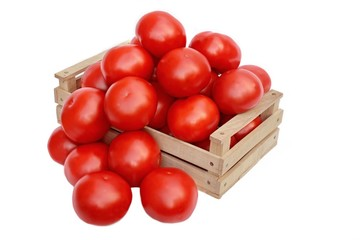 Large tomatoes in the wooden box