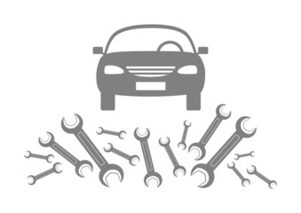 Grey car icon on white background