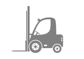 Grey forklift truck on white background