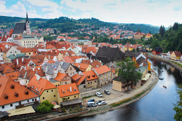 View of an old town Cesky Krumlov, Czech Republic.