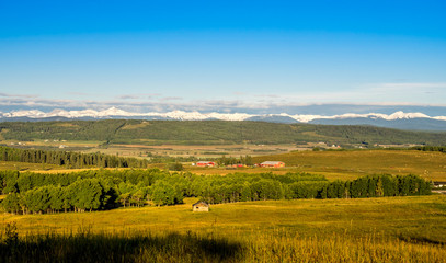 Farm in foothills of rocky mountains, Alberta Canada