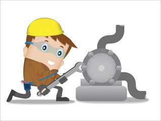 Service man to repair engine