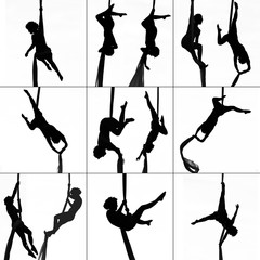 Collage silhouette woman practicing gymnastic aerial yoga silk