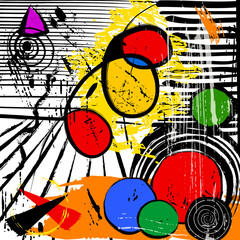 abstract background illustration, with strokes, splashes and cir