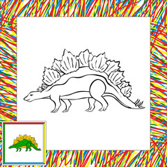 Funny cartoon stegosaurus
