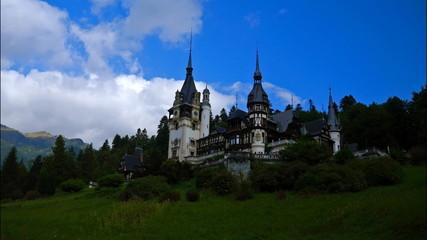 Pelesh castle, Romania. Timelapse