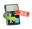 calculator and 2015 arrow illustration design