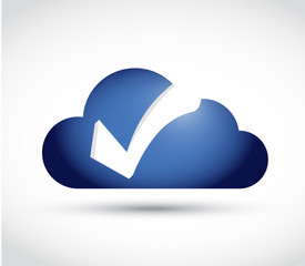 cloud check mark illustration design