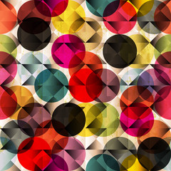 seamless pattern background, retro/vintage style, with circles a