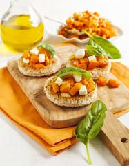 Pumpkin bruschetta. Bruschetta with roasted pumpkin, cheese and