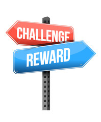challenge and reward sign illustration design