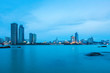 beautiful coastal city of xiamen skyline in nightfall