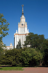 Moscow State University building in summer day