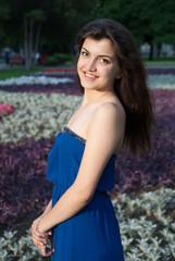 Beautiful oriental girl smiling in park