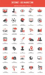 SEO - Internet marketing icon set orange icons