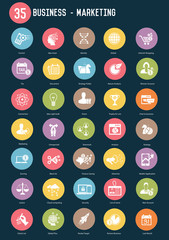 35 Business marketing buttons,Color vector