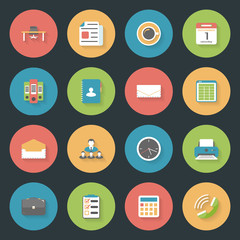 Office flat icons set