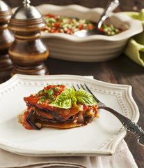 Roasted eggplant with tomato sauce. Vegetarian lasagne with eggp